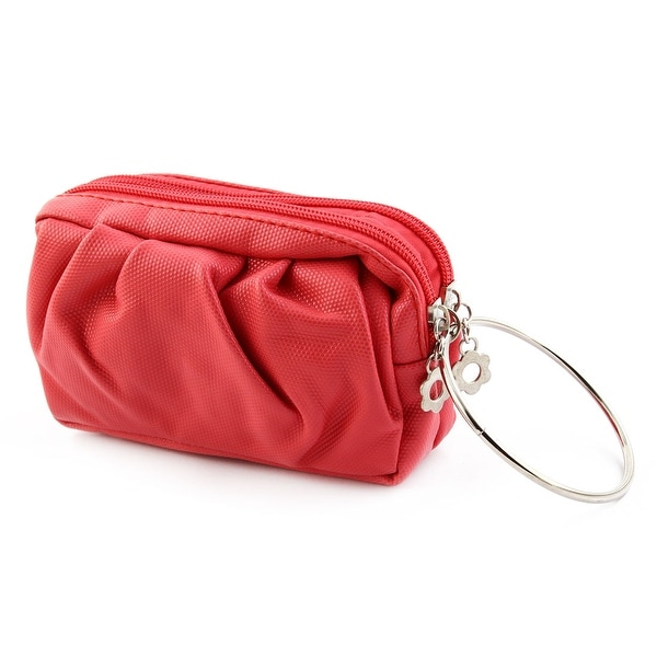 Woman Faux Leather Zipper Up Two Layers Cell Phone Purse Wallet Pocket Bag Red