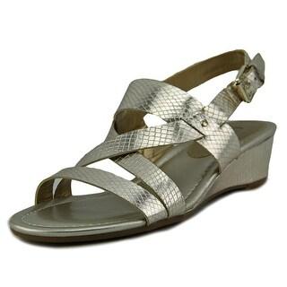 Chaps Reesa Women Open Toe Synthetic Gold Wedge Sandal
