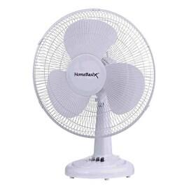 """Homebasix FT40-8HC Oscillating Table Fan, 16"""", 3 Speed Motor, White"""
