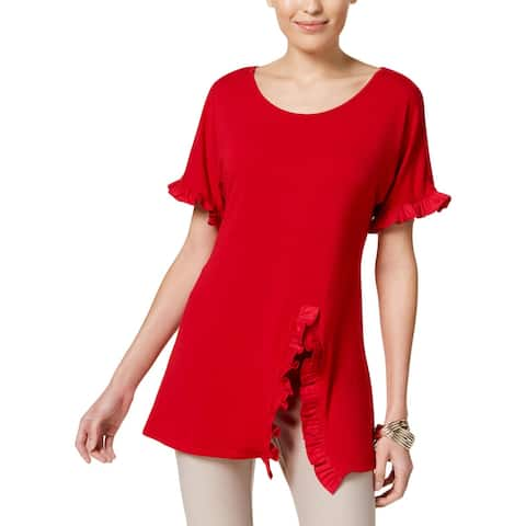 NY Collection Womens Pullover Top Ruffle Trim Split Hem
