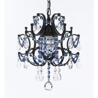 Iron and Crystal Plug In Chandelier With Blue Crystal