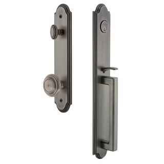 """Grandeur ARCDGRCIR_ESETD_NA  Arc Solid Brass Rose Dummy Full Plate """"D"""" Grip Handleset with Circulaire Knob"""