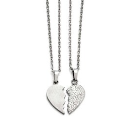 Chisel Stainless Steel 1/2 Heart Brushed & 1/2 Heart Crystal Necklace Set