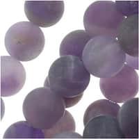 Matte Amethyst Gemstone Beads Purple 6mm Round - 16