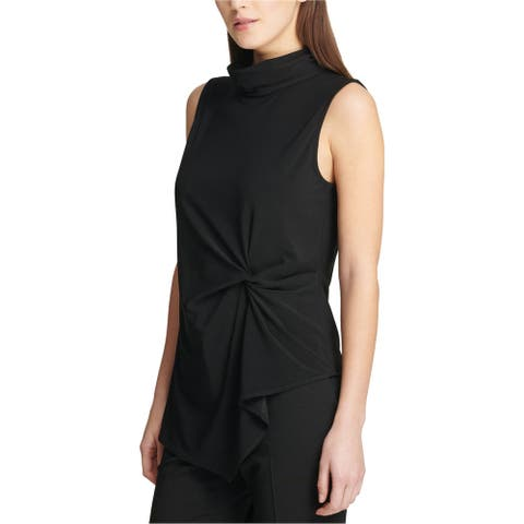 DKNY Womens Twist Front Pullover Blouse, black, Large