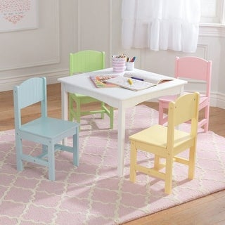 KidKraft: Nantucket White Table & 4 Pastel Chairs