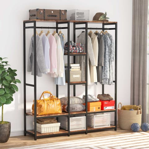 Free standing Closet Organizer, Heavy Duty Clothes Closet Storage with Shelves and Double Rod
