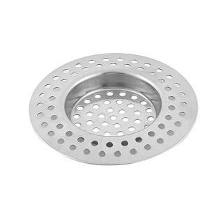 Home Kitchen Bathroom Metal Sink Drain Strainer Mesh Filter Basket Sliver Tone