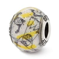 Italian Sterling Silver Reflections Decorative Yellow & White Glass Bead (4mm Diameter Hole)