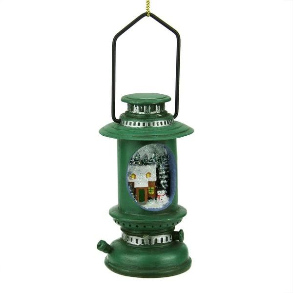 "5"" Green Retro Style Lantern with Winter Scene Christmas Ornament"
