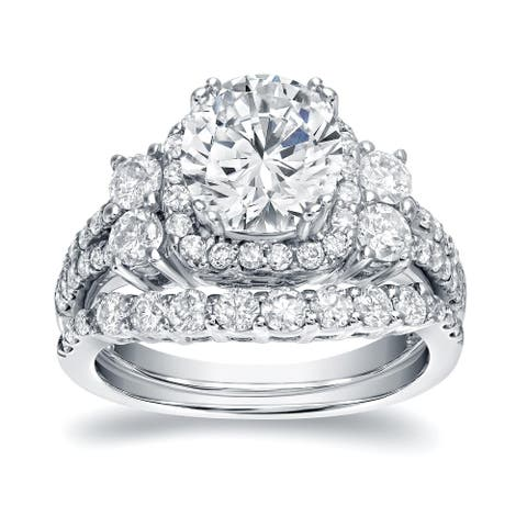 Auriya Platinum 2 1/3ctw Halo Diamond Engagement Ring Set Certified