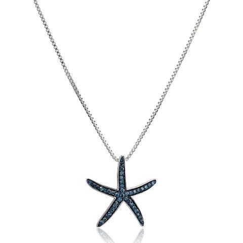 1/5 ct Blue Diamond Starfish Pendant in Sterling Silver, 18""
