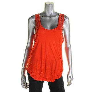 Jessica Simpson Womens Juniors Aston Tank Top Beaded Sheer