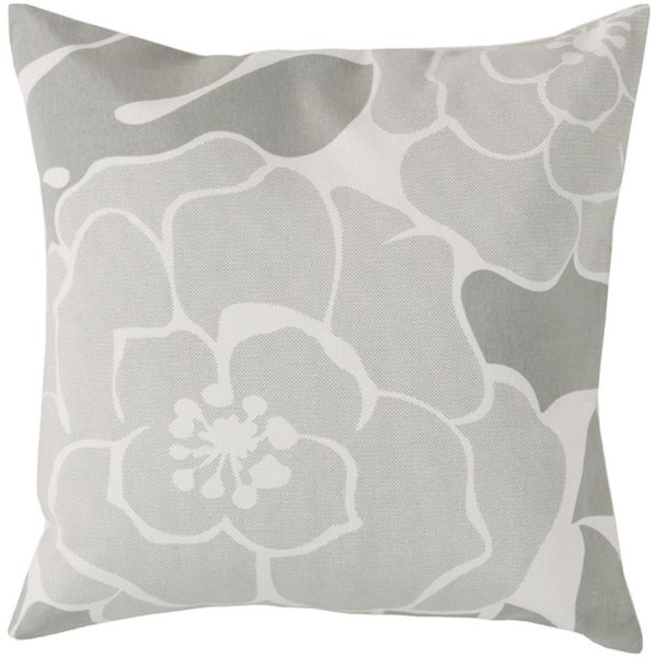 """20"""" Blooming Camellia Ash Gray and White Decorative Square Throw Pillow - Down Filler"""
