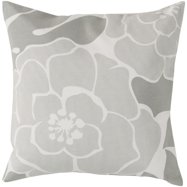 "20"" Blooming Camellia Ash Gray and White Decorative Square Throw Pillow"