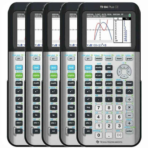 Texas Instruments 84PLCE/TBL/1L1/AC (5-Pack) TI-84 Plus CE Graphing Calculator - Space Gray