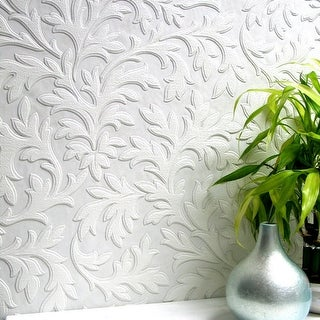 Brewster 437-RD80026 High Leaf Paintable Textured Vinyl Wallpaper