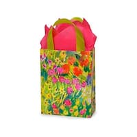 "Pack Of 100, Cub Watercolor Garden Plastic Bags 3 Mil Shopping Bags 8 X 4 X 10"" For Gift Packaging"