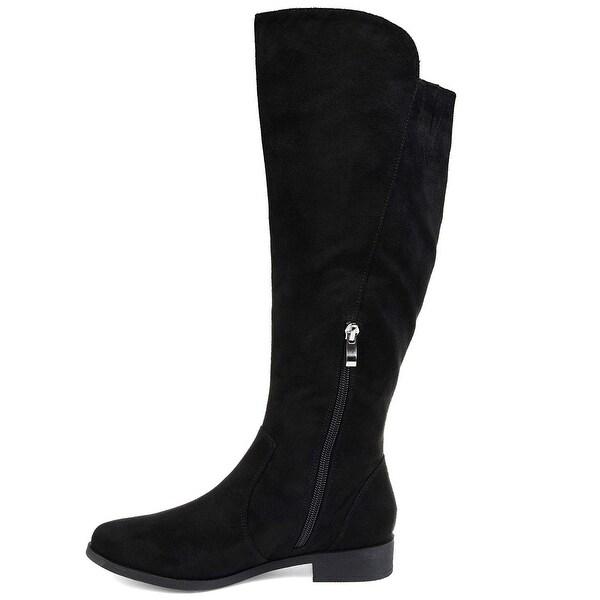 Brinley Co Comfort Womens Microsuede Mid-Calf Boot Black 10 Regular US