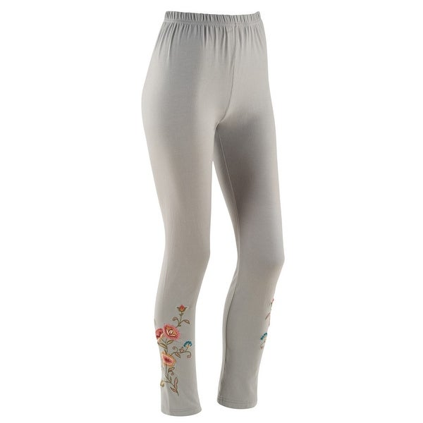 ad5cbd7239466 Shop Women's Embroidered Smokey Grey Leggings - Free Shipping On Orders  Over $45 - Overstock - 15813147