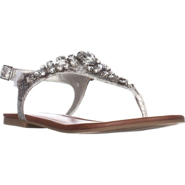 G Guess Londean Round Toe T-Strap Sandals, Silver