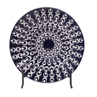 "Howard Elliott Navy Blue Textured Ceramic Charger with Iron Stand 14"" Diameter Ceramic Charger"
