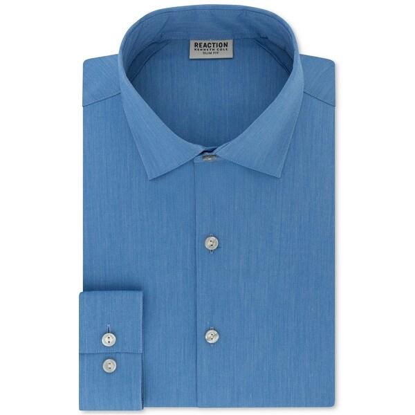 Kenneth Cole Men/'s Cotton Blend Techni-Cole Slim Fit Patterned Dress Shirt Blue