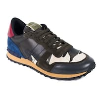 Valentino Navy Leather Rockrunner Camouflage Sneakers