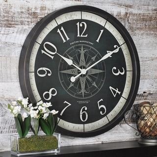 FirsTime & Co.® Compass Rose Wall Clock, American Crafted, Oil Rubbed Bronze, Plastic, 24 x 2 x 24 in - 24 x 2 x 24 in
