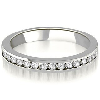 0.30 cttw. 14K White Gold Round Diamond Classic Channel Wedding Band