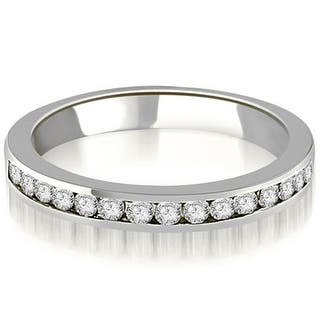 14k White Gold Round Diamond Clic Channel Wedding Band
