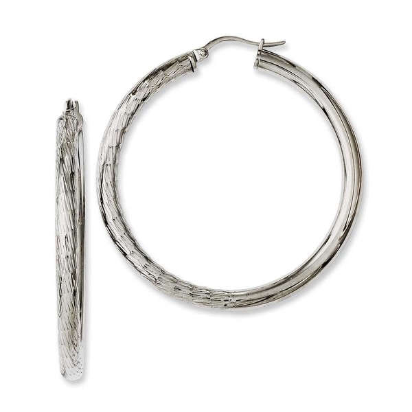 Chisel Stainless Steel Half Textured & Polished Hollow Hoop Earrings
