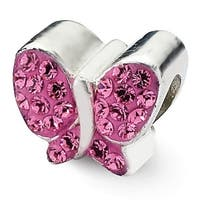 Sterling Silver Reflections Pink Swarovski Elements Butterfly Bead (4mm Diameter Hole)