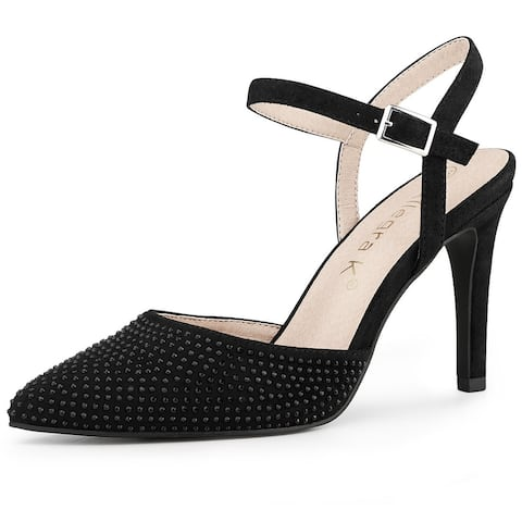 Women's Pointed Toe Ankle Strap Slingback Heel Pumps
