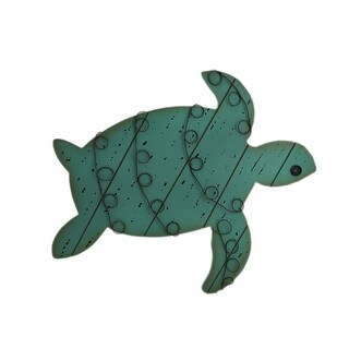 Distressed Finish Wood and Metal Sea Turtle Wall Hanging - aqua