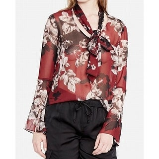 Jessica Howard Red Womens Size 2 Floral-Print Tie-Neck Blouse