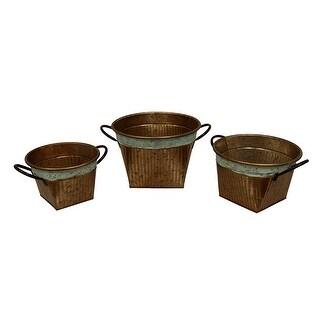 Set of 3 Round Galvanized Copper Finish Graduated Size Metal Planters