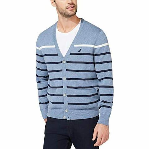 Nautica Men's Striped V-Neck Button Cardigan Turq Size Small