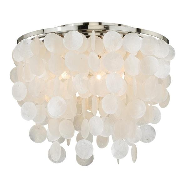 "Vaxcel Lighting C0079 Elsa 3-Light Flush Mount Indoor Ceiling Fixture with Organic Capiz Shell Shade - 16"" Wide - capiz shell"