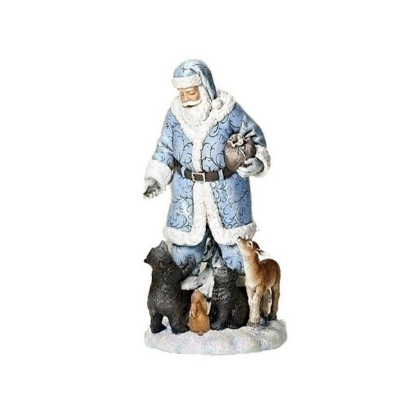 """9.25"""" Santa in Blue Cloak with Woodland Creatures Christmas Tabletop Figure"""