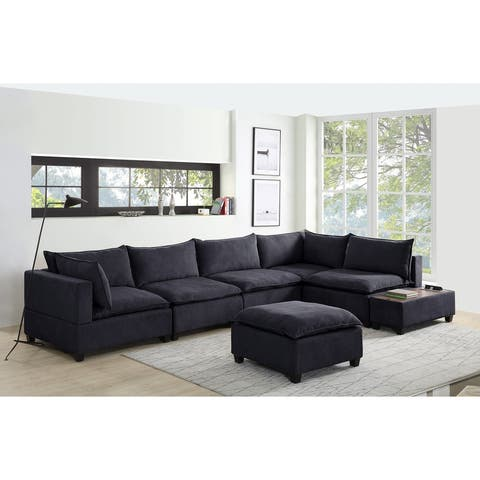 Madison Down Feather Modular Sectional Sofa w/ USB Storage Console