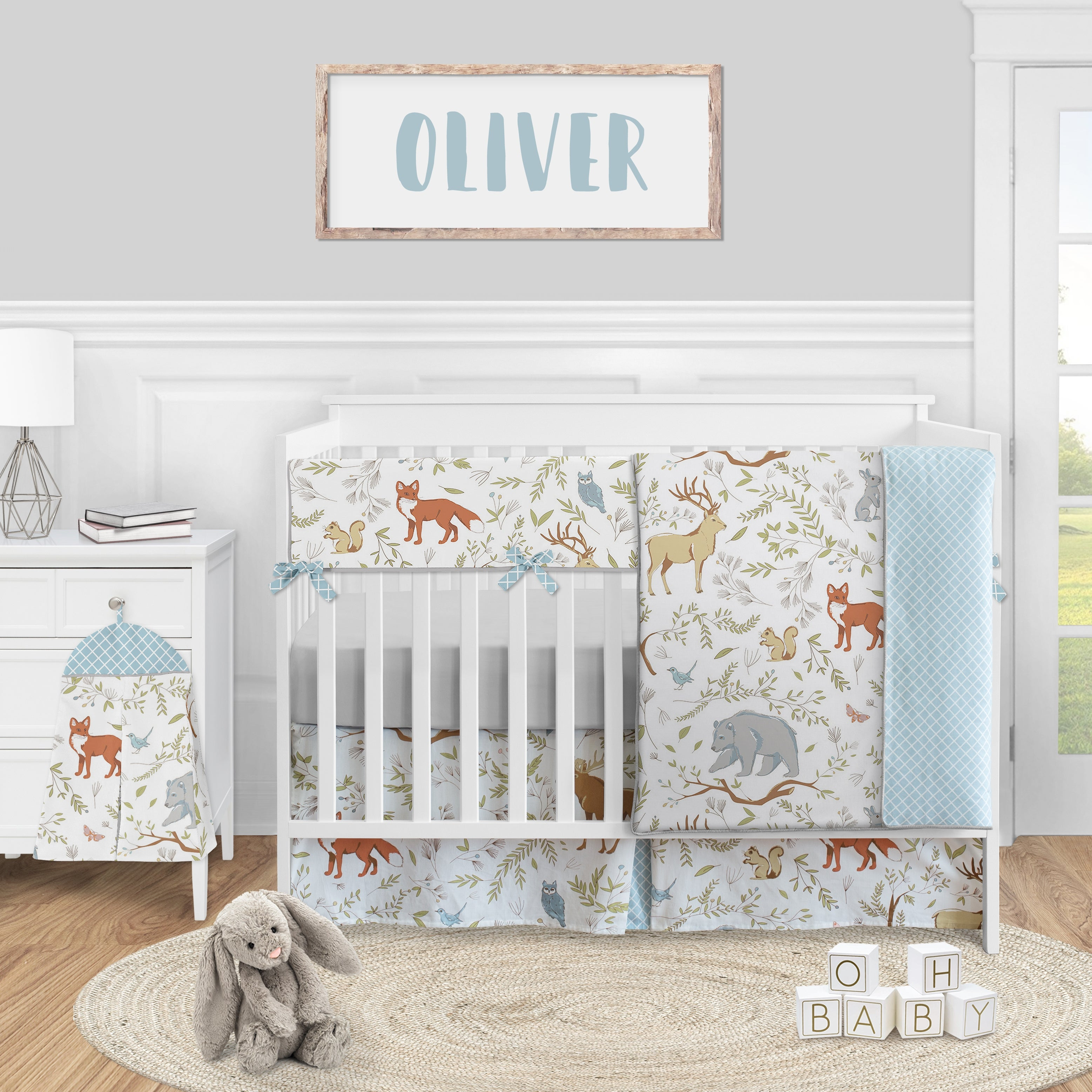 Blue Grey and White Woodland Animal Toile Collection Girl or Boy Crib Bumper