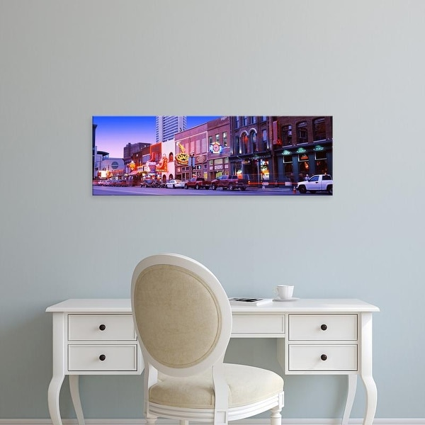 Easy Art Prints Panoramic Images's 'Street scene at dusk, Nashville, Tennessee, USA' Premium Canvas Art
