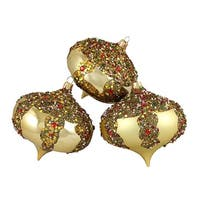 "3ct Gold Glitter Sequin Beaded Shatterproof Christmas Onion Ornaments 4"" (100mm)"