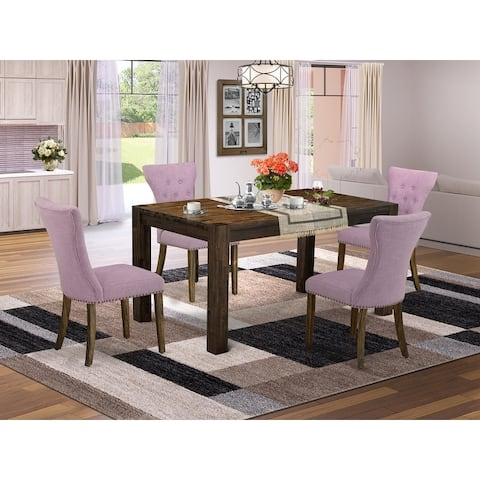 CNGA5-77-40 5-Pc Kitchen Dining Set- 4 Upholstered Dining Chairs with Dahlia Linen Fabric Seat and Button Tufted Chair Back