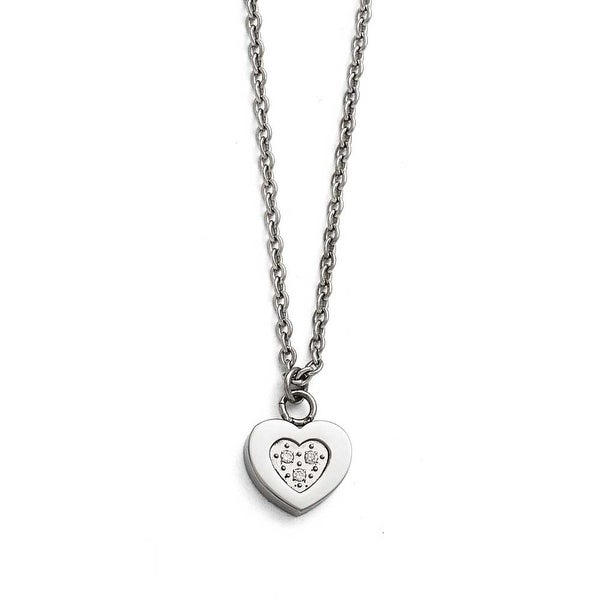 Chisel Stainless Steel Polished Heart with CZs Necklace - 18 in