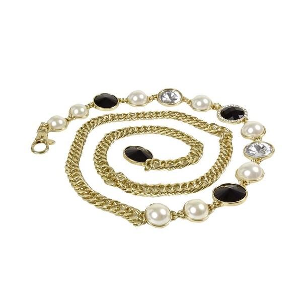 INC International Concepts Women's Jeweled Chain Belt - Gold - M/L