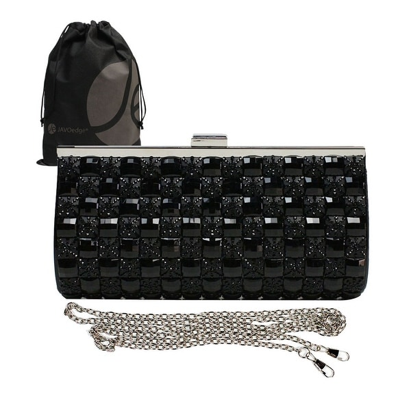 Black Square Tiled Clutch with Strap