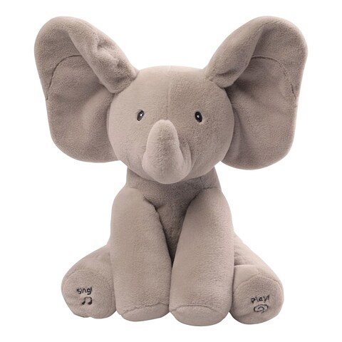 Gund Baby Flappy the Elephant Peek-a-Boo Animated Talking and Singing Plush Toy - gray