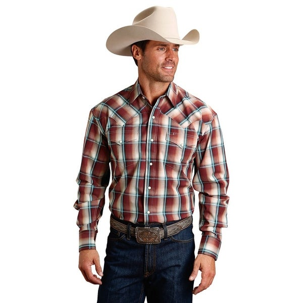 0c1d676a449aa Shop Stetson Western Shirt Mens L S Plaid Snap Wine - Free Shipping Today -  Overstock - 28051115